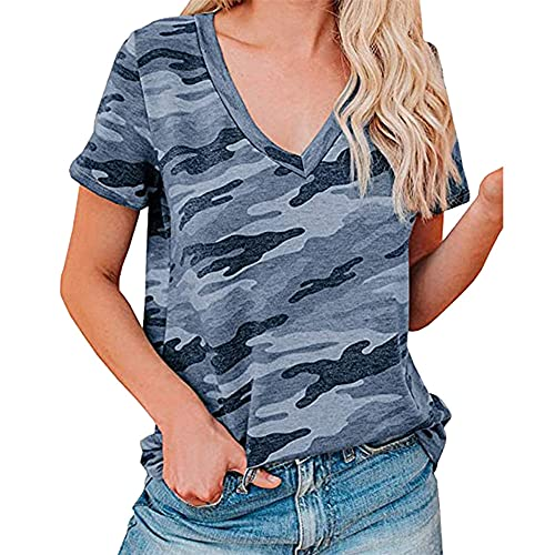 PRJN Camiseta de Manga Corta con Estampado de Leopardo para Mujer Camiseta de Manga Corta de Verano para Mujer Camiseta de Leopardo a Rayas con Cuello en O Camiseta de Manga Corta para Mujer Camiseta