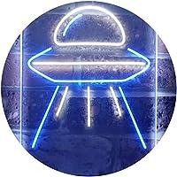 Alien Spaceship UFO Dual Color LED看板 ネオンプレート サイン 標識 白色 + 青色 300 x 400mm st6s34-i3287-wb