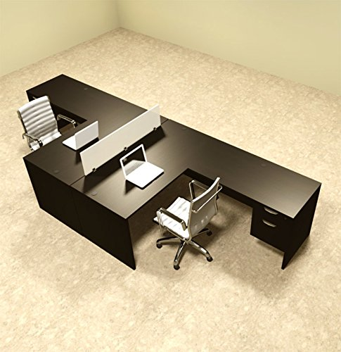 Two Person L Shaped Divider Office Desk Set