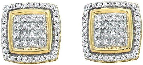 10 k GelbGold, 0,28 Eigengewicht Diamant Micro Pave Set Ohrringe
