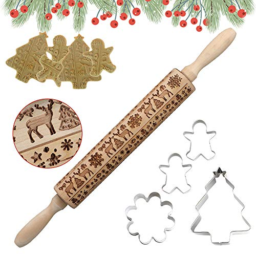 DECOMEN Christmas Wooden Rolling Pins Engraved Embossing Rolling Pin with Christmas Tree Deer and Snowflake Pattern with 4pcs Cookies Cutters for Baking Christmas Embossed Cookies