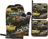MODORSAN Mountain Wildlife Nature Bear Moose - Juego de 4 Manoplas y Soportes para ollas, Almohadillas Calientes Resistentes con Guantes de poliéster Antideslizantes para Barbacoa para coci