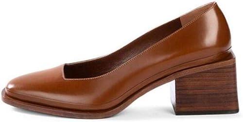 FUTER zapatos de mujer Tacones Altos Retro Cabeza Cuadrada Boca Baja Trabajo Tacón Alto blanco marrón Alto 6 cm (Color   marrón, Talla   EU36 UK3.5 CN35)