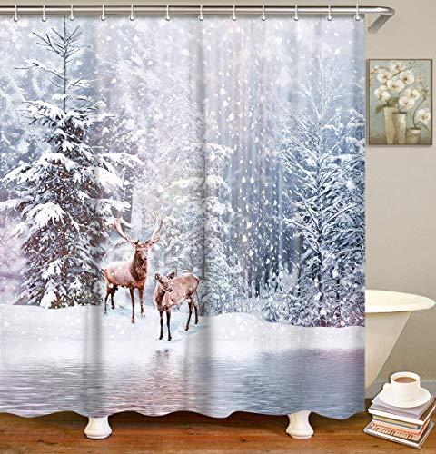 LIVILAN Schnee Duschvorhang Set mit 12 Haken Winter Hirsch Duschvorhang Wald Weihnachten Duschvorhang Maschinenwaschbar, 72 x 72 Zoll