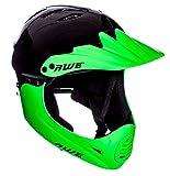 AWE® * Casco integral de BMX negro verde, tamaño M 54-58 cm
