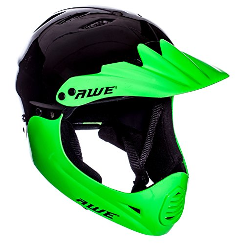 AWE FREE 5 YEAR CRASH REPLACEMENT* BMX Full Face Helmet Black Green Large 58-60cm