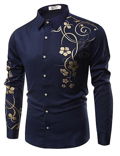 HAN-NMC Men's Aller/Simple Quotidien décontracté Chic Rue Printemps Automne Floral,Chemise Col Classique Manches Longues Polyester Coton,léger,3XL Bleu Royal