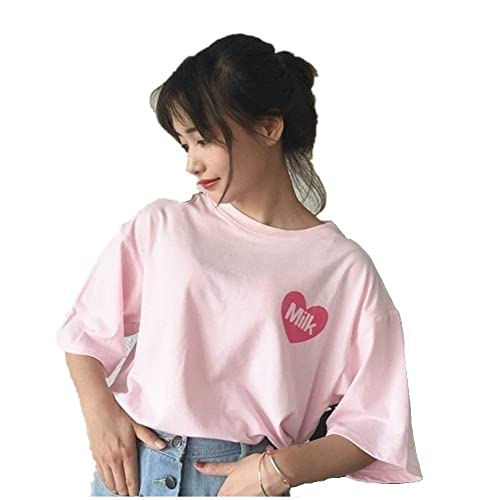 HaoKe Women Girls Japanese Kawaii Strawberry Milk Box Graphic T-Shirt Fairy  Kei Short Sleeve a7be90b97