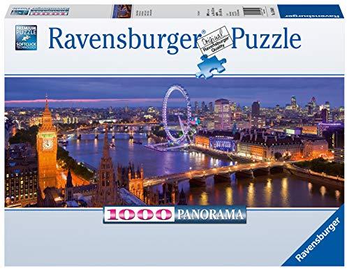 Ravensburger Puzzle, Puzzle 1000 Pezzi, Londra di notte, Formato Panorama, Puzzle per Adulti, Puzzle Londra, Puzzle Ravensburger - Stampa di Alta Qualità