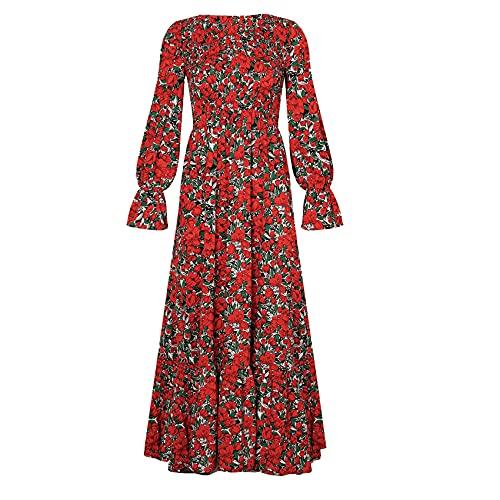 OtoñO E Invierno Moda para Mujer Casual Cuello Redondo Estampado Cintura con Volantes Vestido Largo De Manga Larga Mujer