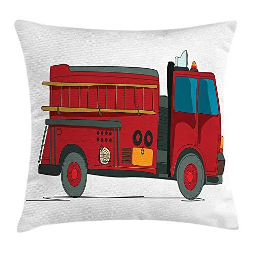 Brandweerwagen kussensloop, cartoon schets brandweerwagen met een ladder op de zijkant noodhulp, decoratieve vierkante accent kussensloop, 18 X 18 inch, Multi kleuren