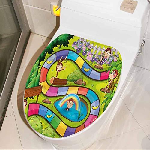Adhesivo para asiento de inodoro, diseño de monos divertidos y plátanos, para baño, baño, baño, decoración del hogar, 45,7 x 55,7 cm