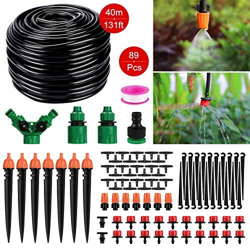 Tencoz Garten BewässerungsSystem, 40m DIY Micro Drip Bewässerung Kit 1/4