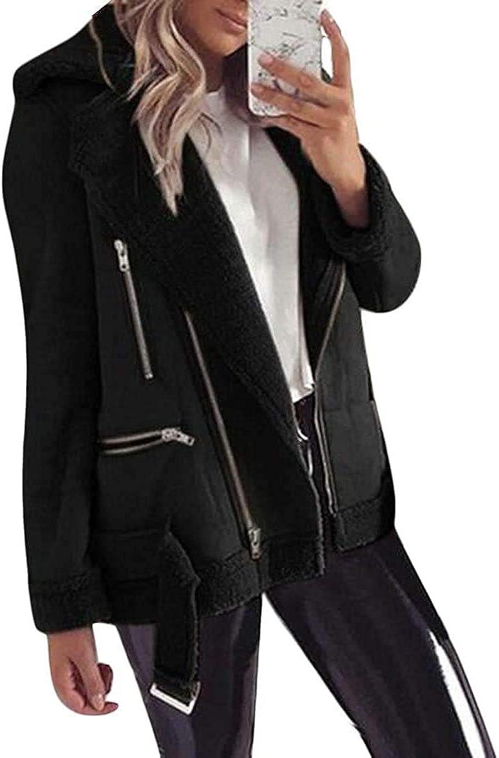 Mekoe Womens Thick Warm Jacket Suede Fleece Lined Windbreaker Jacket