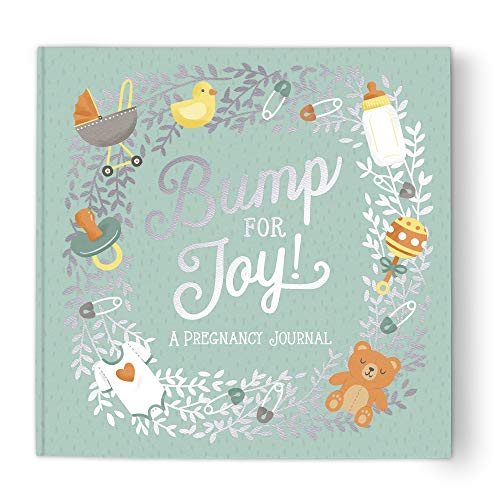 """Guided Pregnancy Journal by Studio Oh! - Bump for Joy - 9"""" x 9"""" - Beautifully Illustrated Hardcover Journal with Storage Pockets Creates a Keepsake of Maternity Memories"""