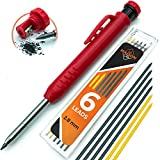 SOLID + EXTENDABLE Carpenter Pencil Set for Construction [+7 LEADS +SHARPENER] Tul Pens Fine Point Grease Mechanical Pencils Wood Marker/Best Marking tools for Carpenters Drawing Scriber Woodworking