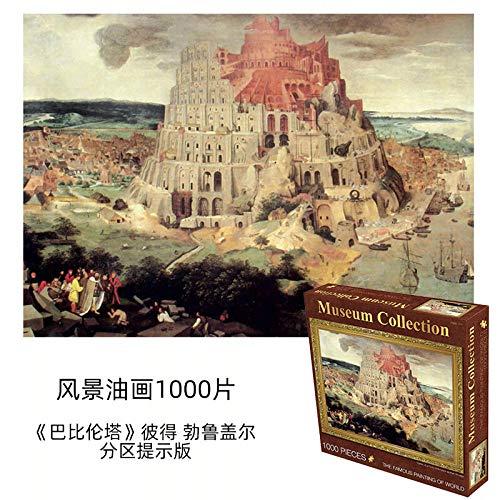 XPY&DGX Weltberühmtes Malpuzzle 1000 Stück Große Papierölgemälde Van Gogh Monet Sternenhimmel Dekoration Landschaft Charaktere Dekompression,Babylon Tower