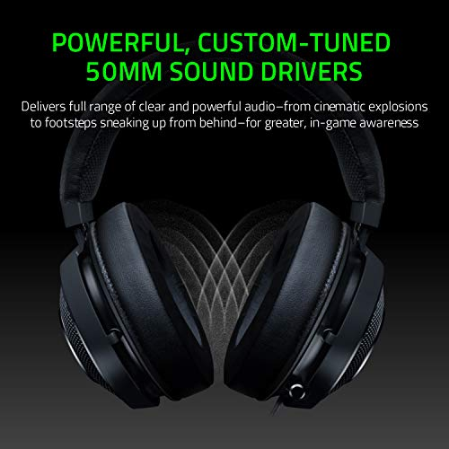 Razer Kraken Tournament Edition THX 7.1 Surround Sound Gaming Headset:    Aluminum Frame - Retractable Noise Cancelling Mic - USB DAC Included - For PC, PS4, Nintendo Switch - Classic Black