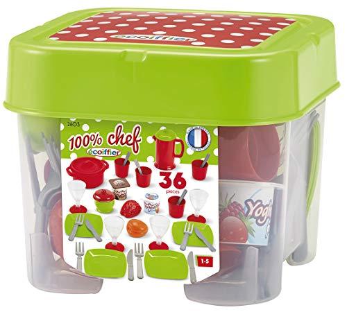 Ecoiffier - 32tlg. Spielgeschirr für Kinder - ideales Zubehör für Kinderküche, inkl. Teller, Besteck, Becher, für Jungen und Mädchen ab 18 Monaten