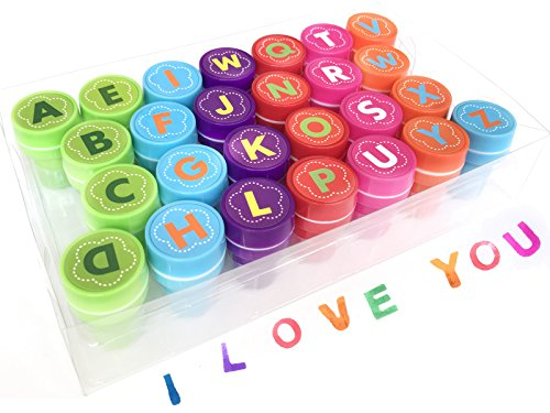 26 Pieces Alphabet Fun Stamps for Kids,Alled Self-Ink Washable Stampers Set for Children Party Favor,School Prizes,Birthday Gift,Learn Props