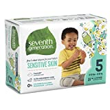 Seventh Generation Free and Clear Sensitive Skin Baby Diapers with Animal Prints, Size 5, 92 Count, (Pack of 4)