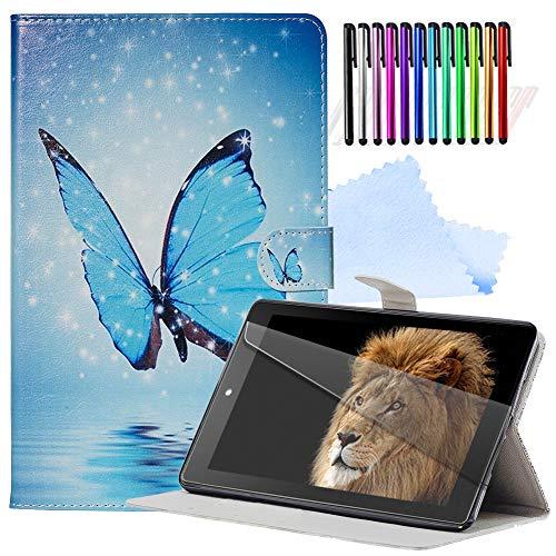 YEARN MALL Tablet Hülle für Amazon Kindle Paperwhite (Versionen 2012, 2013, 2015 und 2016) + kostenloser Displayschutz + Stylus-Stift + Reinigungstuch, Auto Wake/Sleep, Traumschmetterling