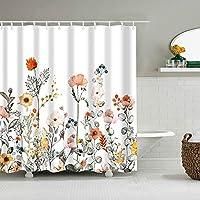 白い背景オレンジピンク美しい花緑の葉シャワーカーテン浴室カーテン装飾防水生地