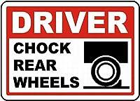 ドライバーチョック後輪。金属スズサイン通知街路交通危険警告耐久性、防水性、防錆性