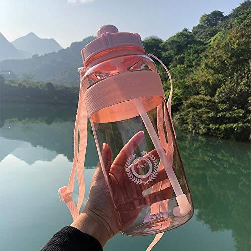 TTZY Borraccia in plastica per Sport all'Aria Aperta 600 ml 1000 ml 2000 ml Bottiglie di Acqua da Campeggio Tipo Paglia a Tenuta buona, Rosa, 2,0 Litri