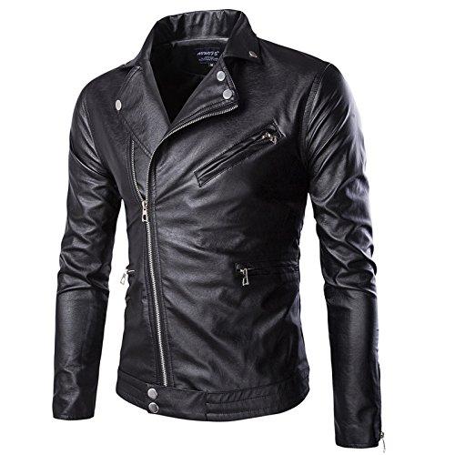 WSLCN Jaqueta masculina chique de couro sintético para motociclista jaqueta clássica com zíper para manter quente outono inverno, Preto, US M (Asian 2XL)