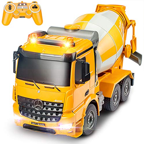 DOUBLE E Benz Licensed Remote Control Cement Mixer Truck Toy 8 Channel Electric Stirring Dumping RC Construction Vehicles with Lights and Sounds