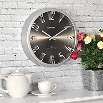 FirsTime & Co Steel Dimension Wall Clock American Crafted Silver 10 x 2 x 10,