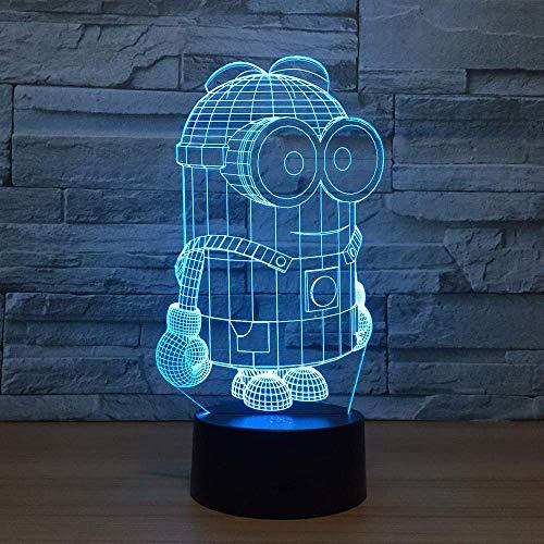 Cartoon Minion Nachtlicht für Kinder 3D Illusion Nachtlicht für Raumdekor 16 Farbwechsel mit Fernbedienung Touch-Schalter Spielzeug Geschenke für Jungen Mädchen