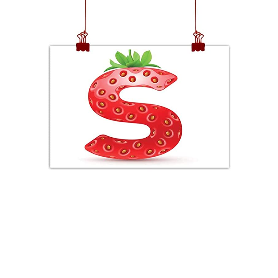 Fabric Cloth Rolled Letter S,Capital S Strawberry Seeds and Green Leaves Organic Plant Realistic,Vermilion Green Orange 24
