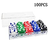 Inheming 100 Pieces Poker Chips Set with Acrylic Case, 5 Colors Striped Chip Casino Style, 11.5gm