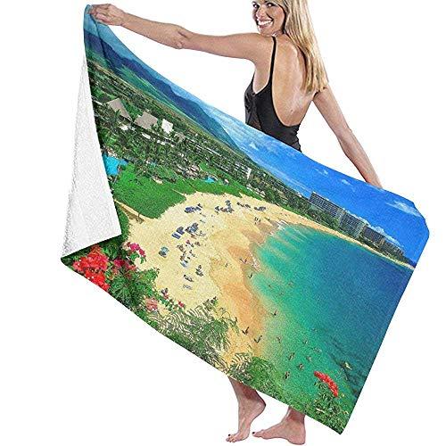 ElRLSHDH Toallas De Baño Playa Toalla De Playa Toalla De Baño De Secado Rápido De Gran Tamaño,Ligera,Súper Absorbente,Kaanapali Beach Maui Hawaii Toalla De Playa,130X80 CM