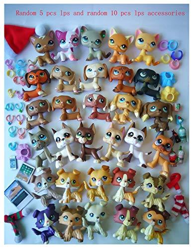 LPSTOY Random 5 PC LPS Cat and Dog LPS Shorthair Cat LPS Cocker Spaniel LPS Great Dane LPS Collie LPS Dachshund Dog Figure Boy Gorl Kids Gift Set