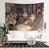LunchBaggg Edgar Degas Art The Rehearsal of The Ballet on Stage 8260inch Wall Tapestry Cartoon Tapestry Print Living Room Tapestry