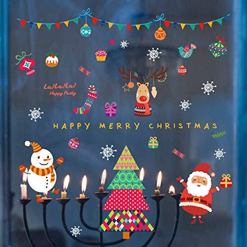 Kerstmuurstickers, creatief comic-motief, vrolijk kerstmis, ramen, zelfklevend, knutselen, sneeuwman, Kerstmis, sokken, vinyl, wandsticker, kubus