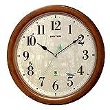 リズム時計工業(Rhythm) 掛け時計 茶 Φ33.6x6.3cm 電波 アナログ 連続秒針 メロディ 日本野鳥の会 共同開発 8MN408SR06