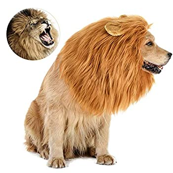 Dog Costume Halloween Dog Costumes Lion Mane for Medium Large Dogs Realistic Lion Wig Costumes for Dogs Funny Dog Costumes Wig Halloween Christmas Costumes for Dogs for Photoshoots Entertainment