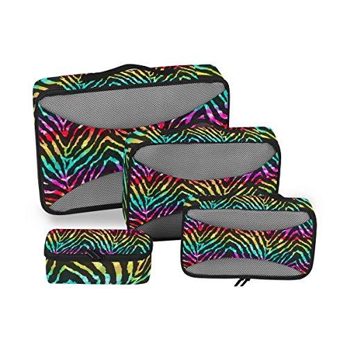 QMIN Juego de 4 cubos de embalaje de viaje con estampado de cebra, diseño de animales arcoíris, bolsas de almacenamiento para maleta de viaje
