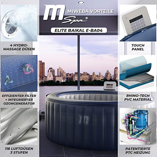 Miweba MSpa aufblasbarer Whirlpool Outdoor - 118 Massagedüsen + 4 Hydromassage Düsen - 4 Personen - Tüv GS geprüft - Elite Baikal E-BA04 Edition