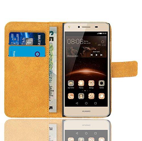 FoneExpert® Huawei Y6 II Compact / Huawei Y5 II Handy Tasche, Wallet Case Flip Cover Hüllen Etui Hülle Ledertasche Lederhülle Schutzhülle Für Huawei Y6 II Compact / Huawei Y5 II - 4