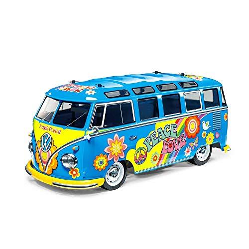 TAMIYA 47453 1:10 VW Bus Type2 T1 Flower Lack, ferngesteuertes Auto, RC Fahrzeug, Modellbau, Bausatz zum Zusammenbauen, Bausatzmodell