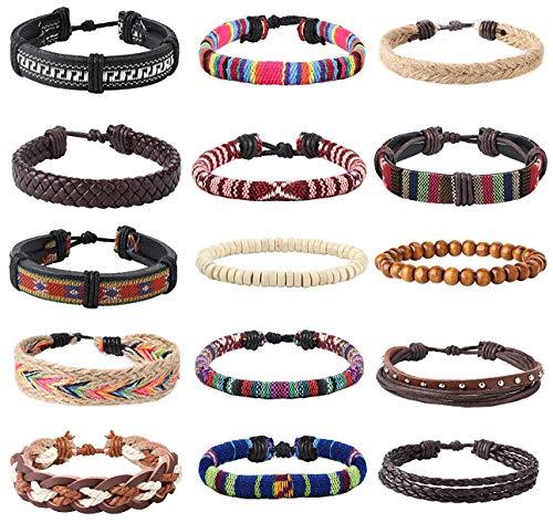 Finrezio 15 PCS Leather Wood Bead Bracelet Tribal Ethnic Hand Knit Boho String Bracelet Men Women Jewelry Wristbands