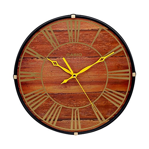 Casio Round Resin Wall Clock (34.5 cm x 34.5 cm x 4.5 cm, Brown, IQ-81-5ADF)