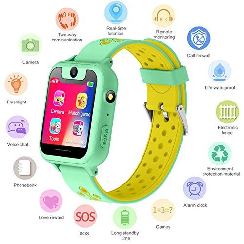 S6 Niños Smartwatch - Reloj de Pulsera Inteligente con ubicación GPS/LBS Reloj Despertador SOS Reloj Digital Cámara Linterna Juegos para niños compatibles con iOS/Android (S6-Green)