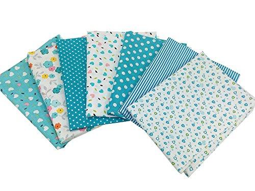 Quilting Fabric, Misscrafts 7pcs 50 x 50cm Cotton Blending Textile Craft Fabric Bundle Fat Quarter Patchwork Pre-Cut Quilt Squares for DIY Sewing Scrapbooking Dot Floral Pattern (Blue)