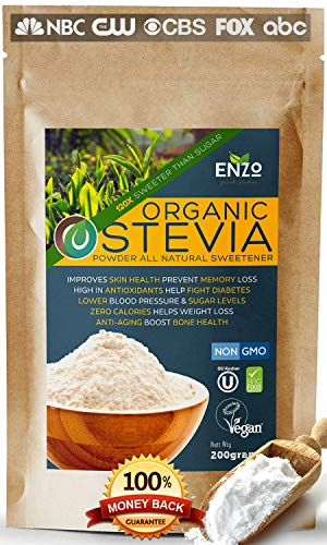 Easy Use Organic Stevia Powder 200g (7.05oz / 1600 Servings) All Natural Alternative Sweetener 12 x Sweeter than Processed Sugar Organic with No Artificial additives & fillers